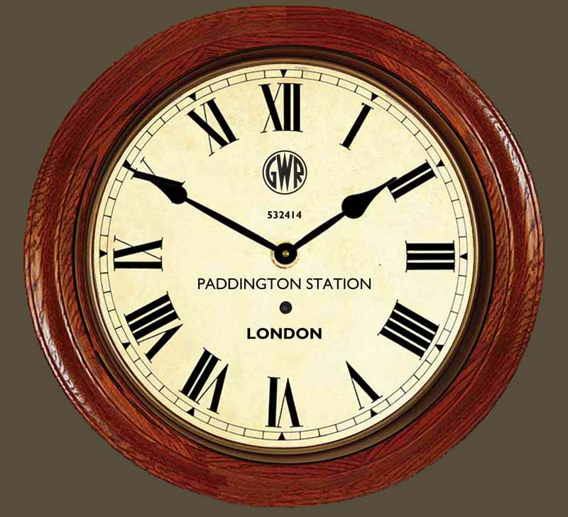 Paddington Station Clock Large Wood Roman