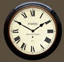 Fusee French Station Clock - Black Case with Roman Dial