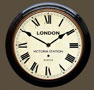 Rail Clock - Victoria Roman Dial with Black Case