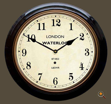 English Railway Clock in Black