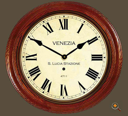 Antique Venice Station Clock 21 Inches in Wooden Case with Roman Dial